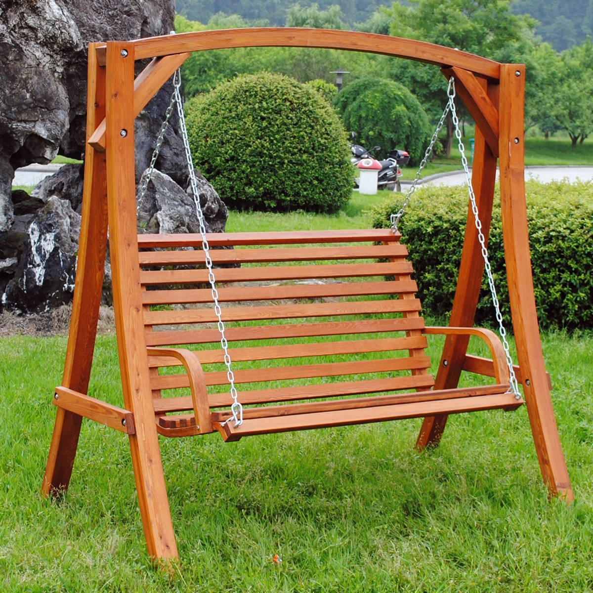 Image of: Wooden Garden Swing Curved Seat Buydirect4u For Wooden Garden Swing Seats Outdoor Furniture Fun Wooden Garden Swing Seats Outdoor Furniture