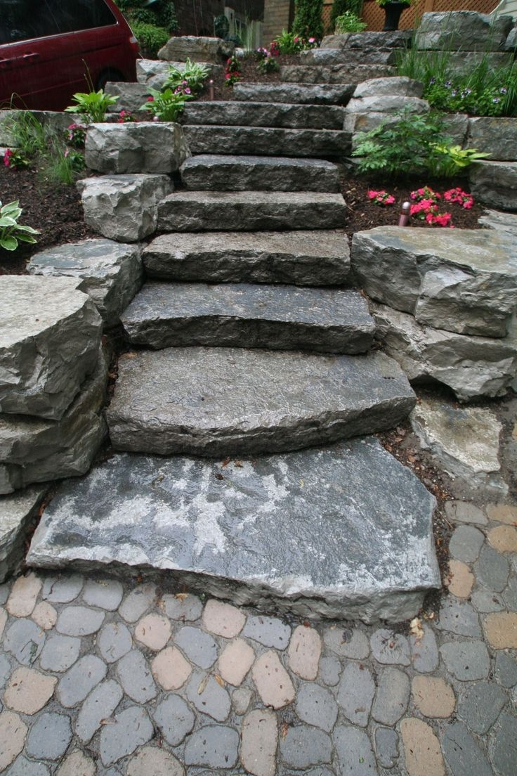 Image of: 25 Best Outdoor Stone Steps Ideas On Pinterest Rock Steps For Flat Landscaping Rocks Flat Landscaping Rocks Garden
