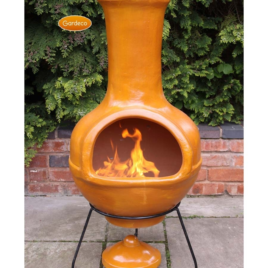 Image of: 28 Clay Chiminea Fire Pit Large Clay Chiminea Outdoor Fireplace