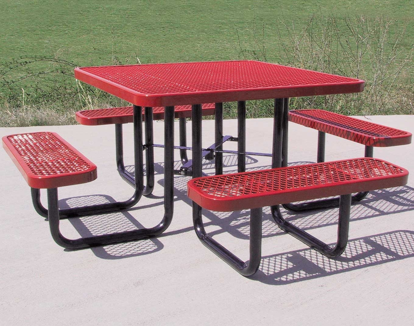 Image of: 46 Square Expanded Metal Picnic Table Intended For Expanded Metal Outdoor Furniture Ideas