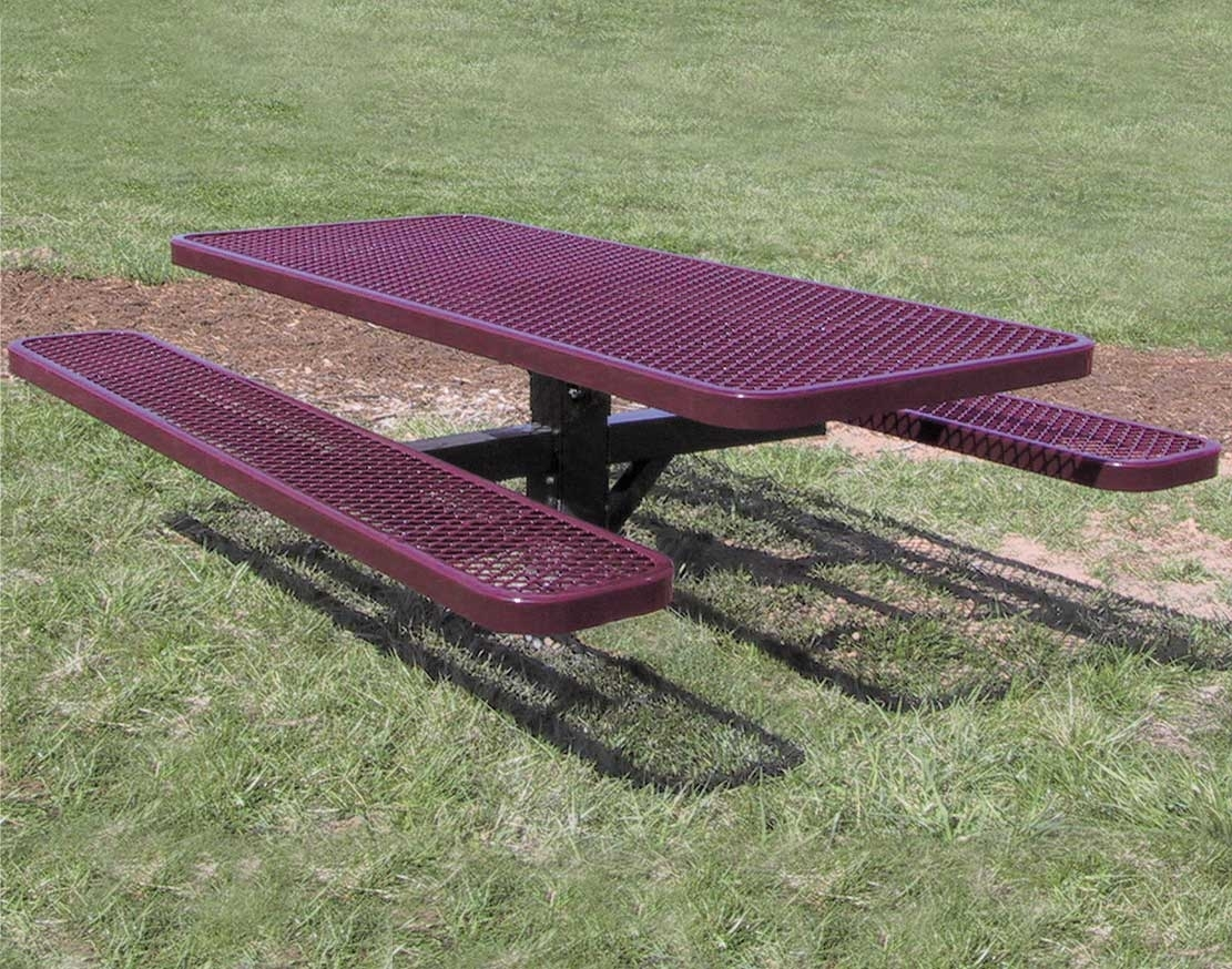 Image of: 6 Pedestal Expanded Metal Picnic Table Regarding Expanded Metal Outdoor Furniture Ideas Expanded Metal Outdoor Furniture Ideas