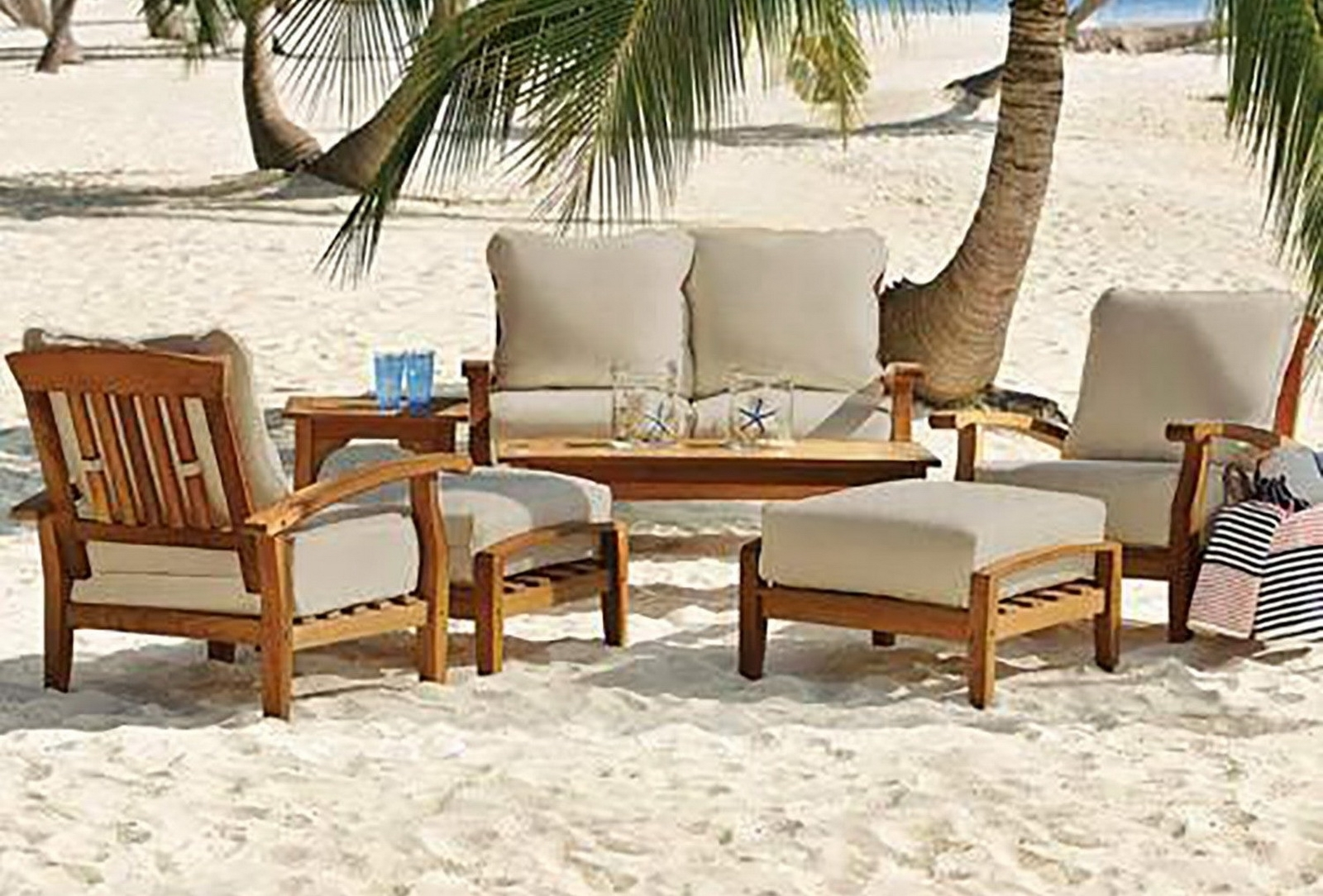 Image of: 7 Piece Teak Wood Outdoor Patio Seating Set Throughout Outdoor Teak Wood Furniture Ways To Keep Outdoor Teak Wood Furniture