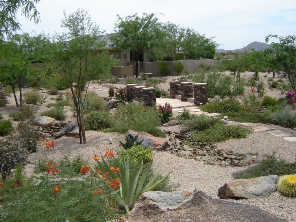Backyard Amusing Brown Wooden Bridge And Water Stream From Rock Throughout Front Yard Desert Landscaping Ideas Attractive Front Yard Desert Landscaping Ideas