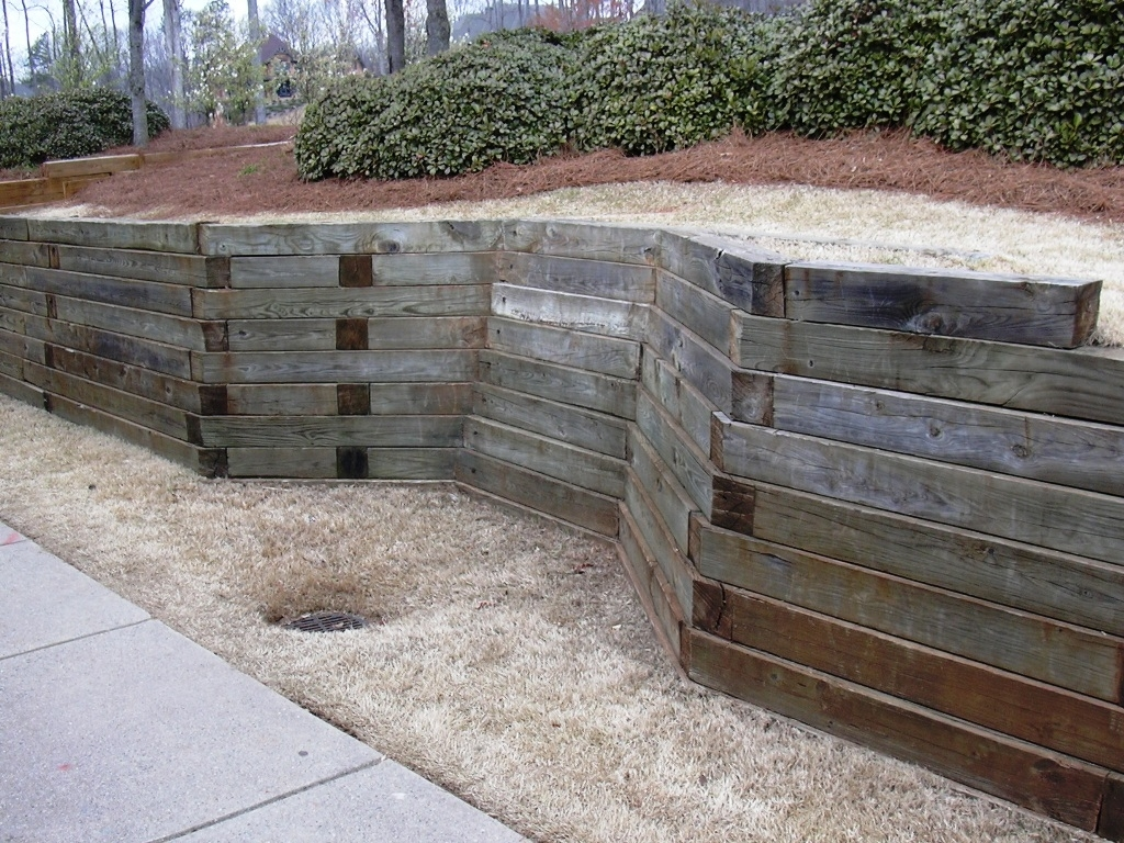 Image of: Best Landscape Timbers Ideas Of Landscape Retaining Wall