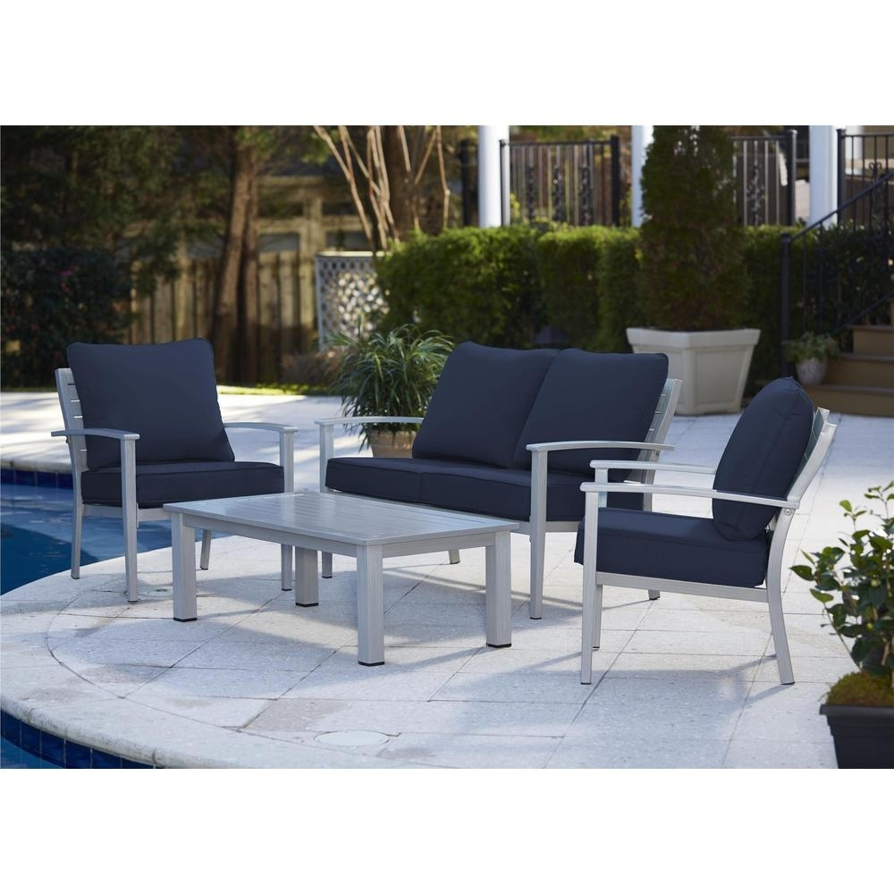 Image of: Blue Gray Patio Conversation Sets Outdoor Lounge Furniture In Navy Outdoor Cushions Perfect Navy Outdoor Cushions