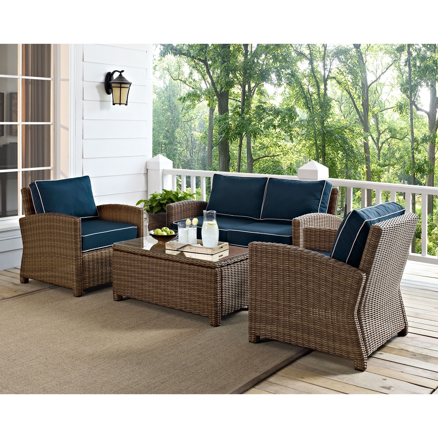Image of: Bradenton 4 Piece Outdoor Wicker Seating Set With Navy Cushions Throughout Navy Outdoor Cushions Perfect Navy Outdoor Cushions