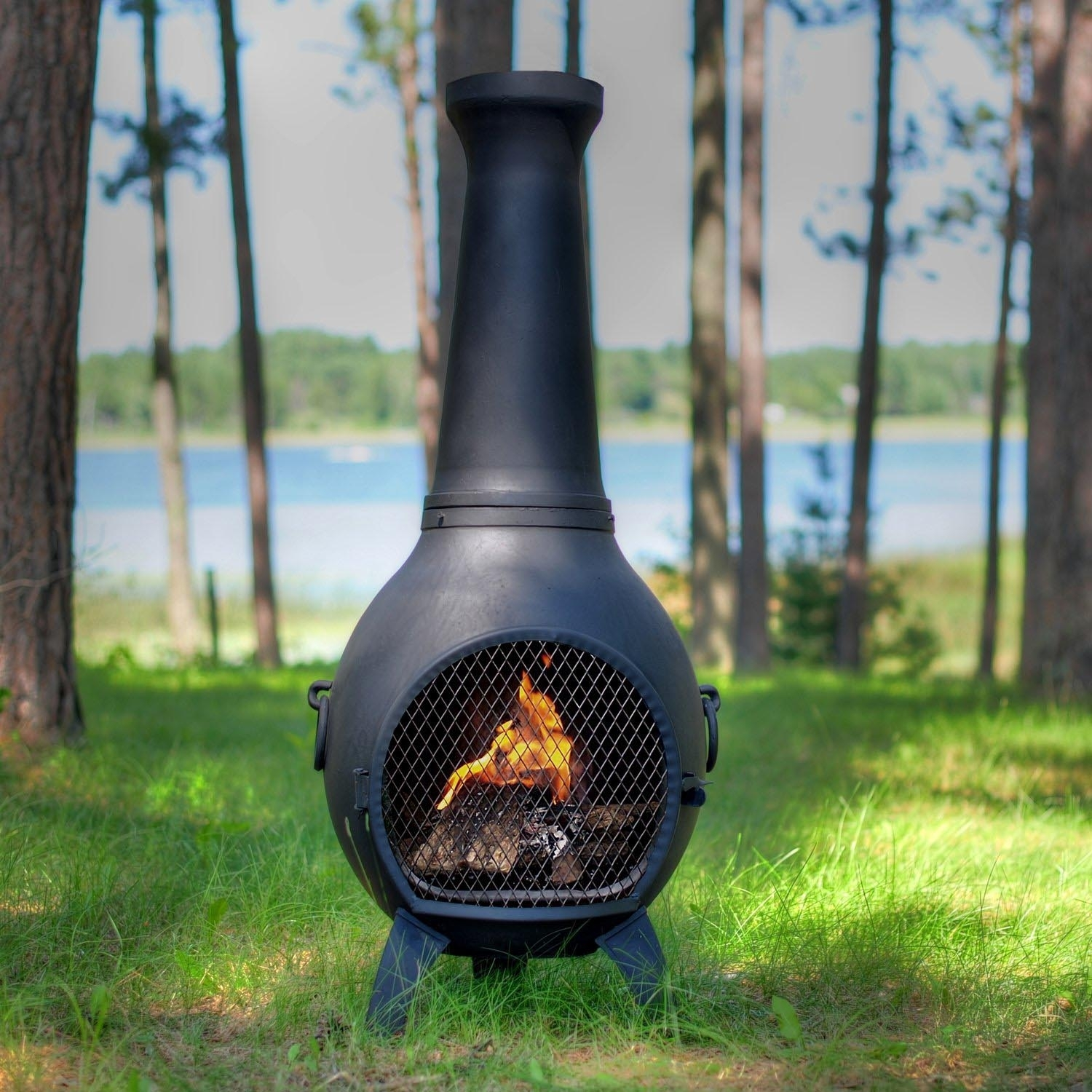 Image of: Clay Fire Pit Chimney With Large Clay Chiminea Outdoor Fireplace