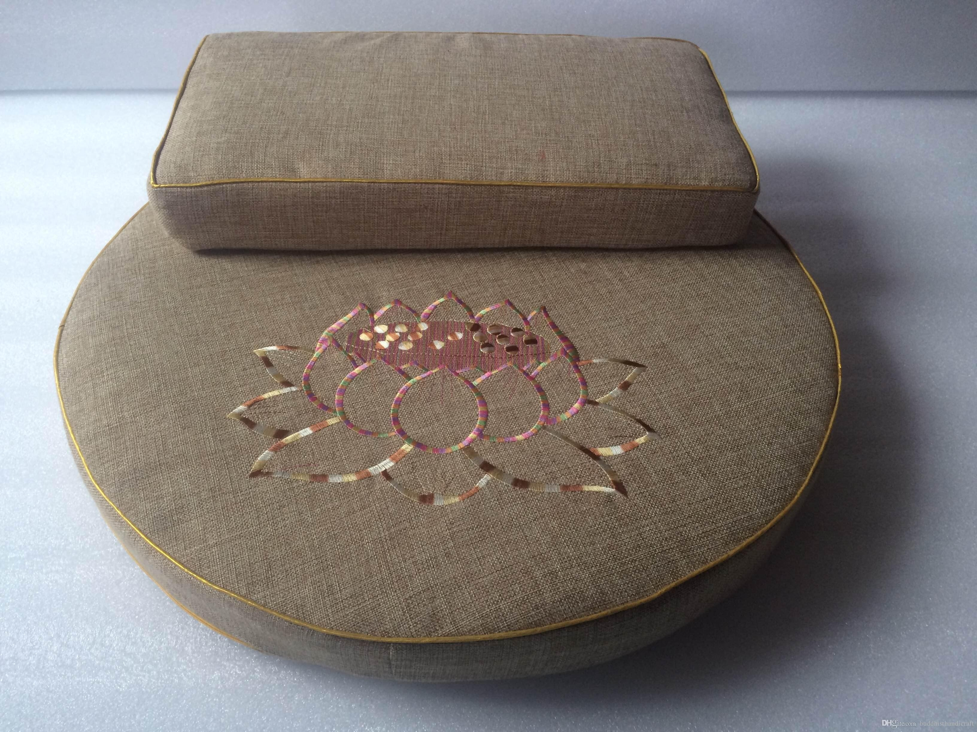 Image of: Coconut Fibre Lotus Meditation Cushions Embroidery Lotus 60cm Regarding Outdoor Meditation Cushion Ideas For Outdoor Meditation Cushion