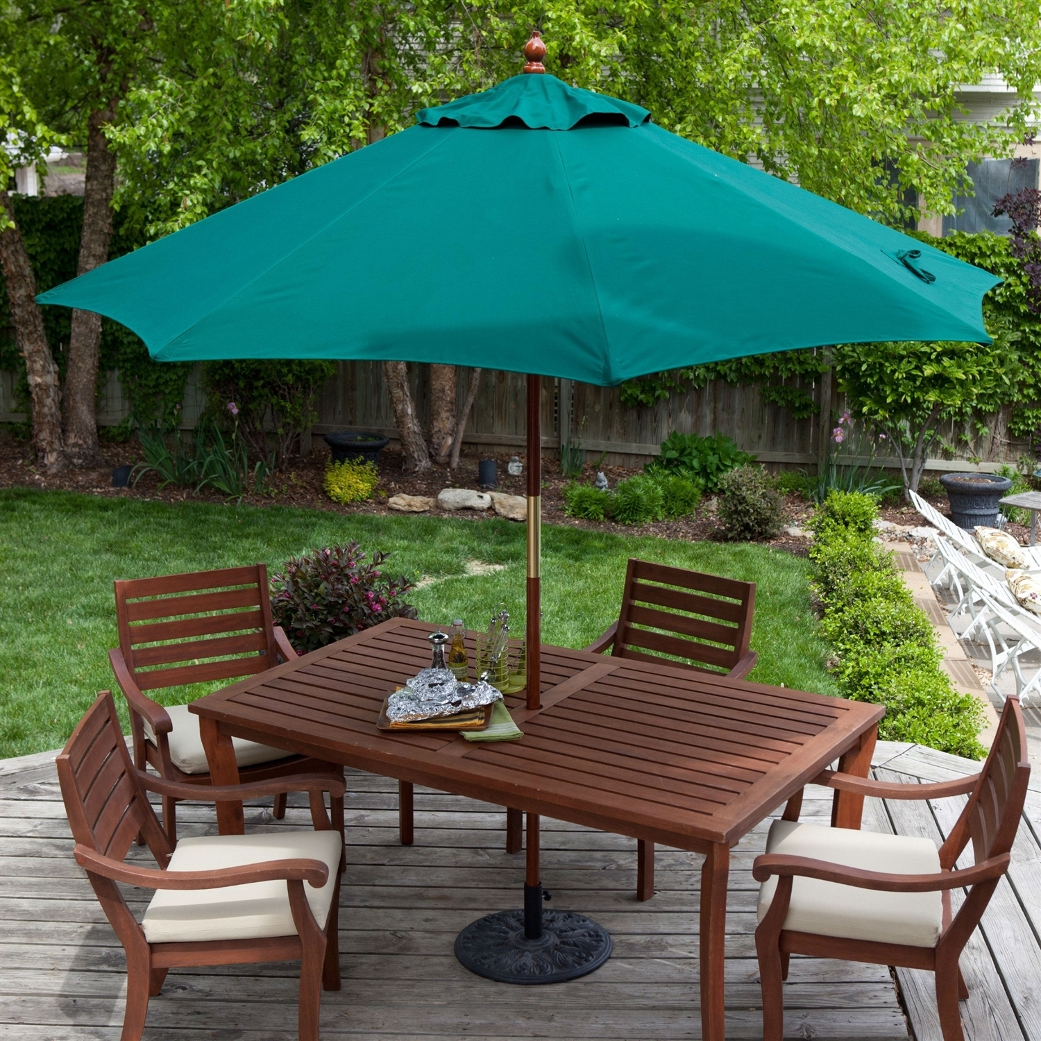 Image of: Patio Umbrella With Forest Green Sunbrella Throughout Commercial Grade Outdoor Furniture