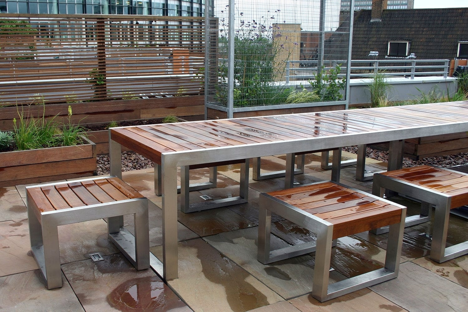 Image of: Contemporary Stool Wooden Stainless Steel For Public Areas For Outdoor Stainless Steel Furniture Great Outdoor Stainless Steel Furniture