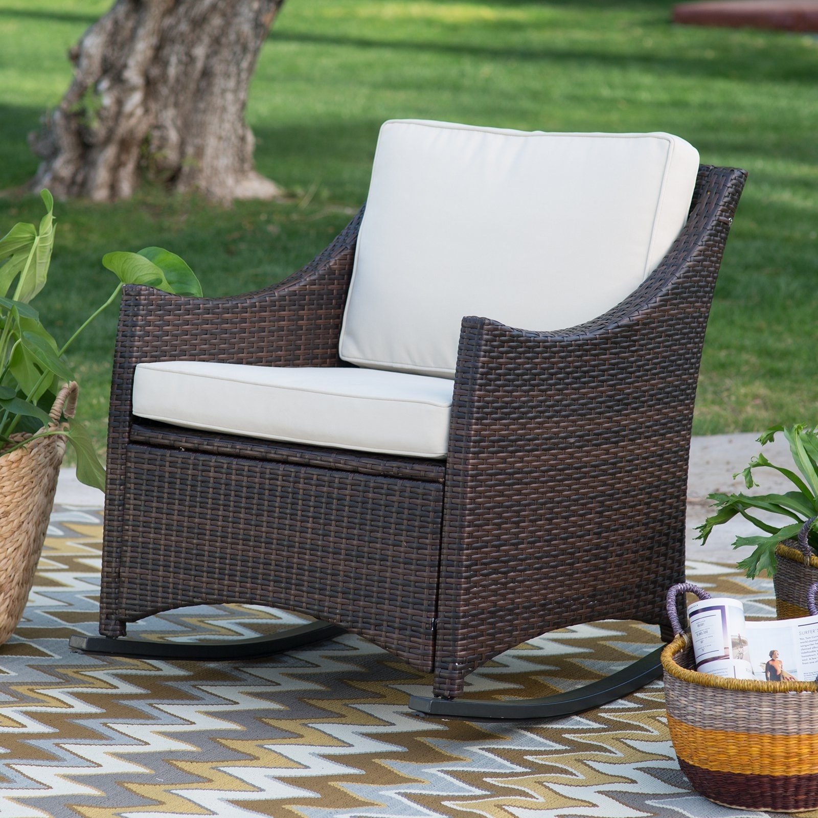 Image of: Coral Coast Harrison Club Style Rocking Chairs Set Of 2 Throughout Outdoor Rocking Chairs With Cushions Good Outdoor Rocking Chairs With Cushions