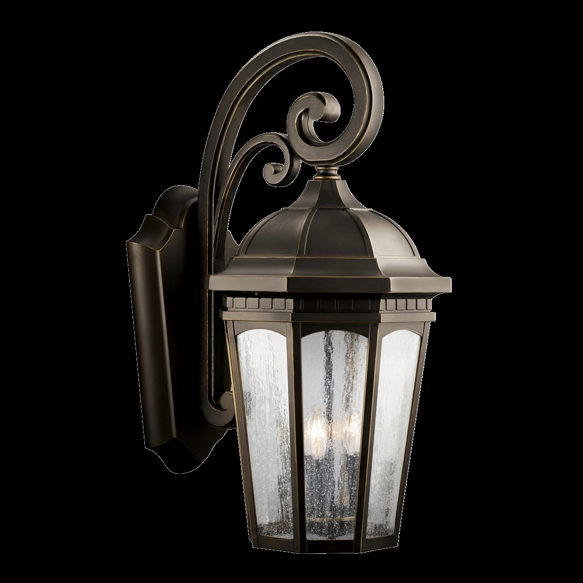 Image of: Rubbed Bronze Seedy Glass Kichler Outdoor Wall Lighting