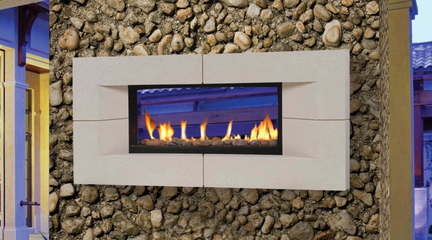 Image of: Decoration Ideas Charming Home Exterior Ideas With See Through Inside Fake Outdoor Fireplace Build Fake Outdoor Fireplace