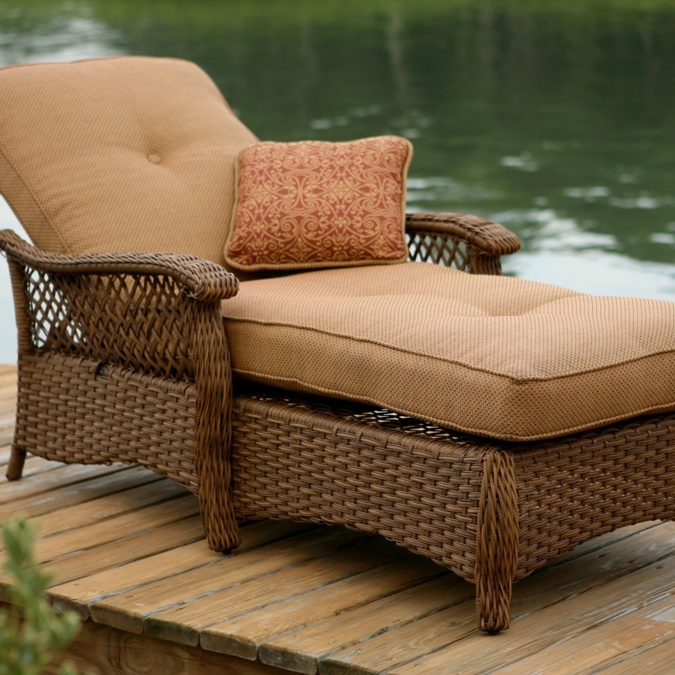 Image of: Decorations Agio Veranda Agio Outdoor Tan Woven Chaise Lounge Inside Outdoor Lounge Chairs With Cushions Outdoor Lounge Chairs With Cushions