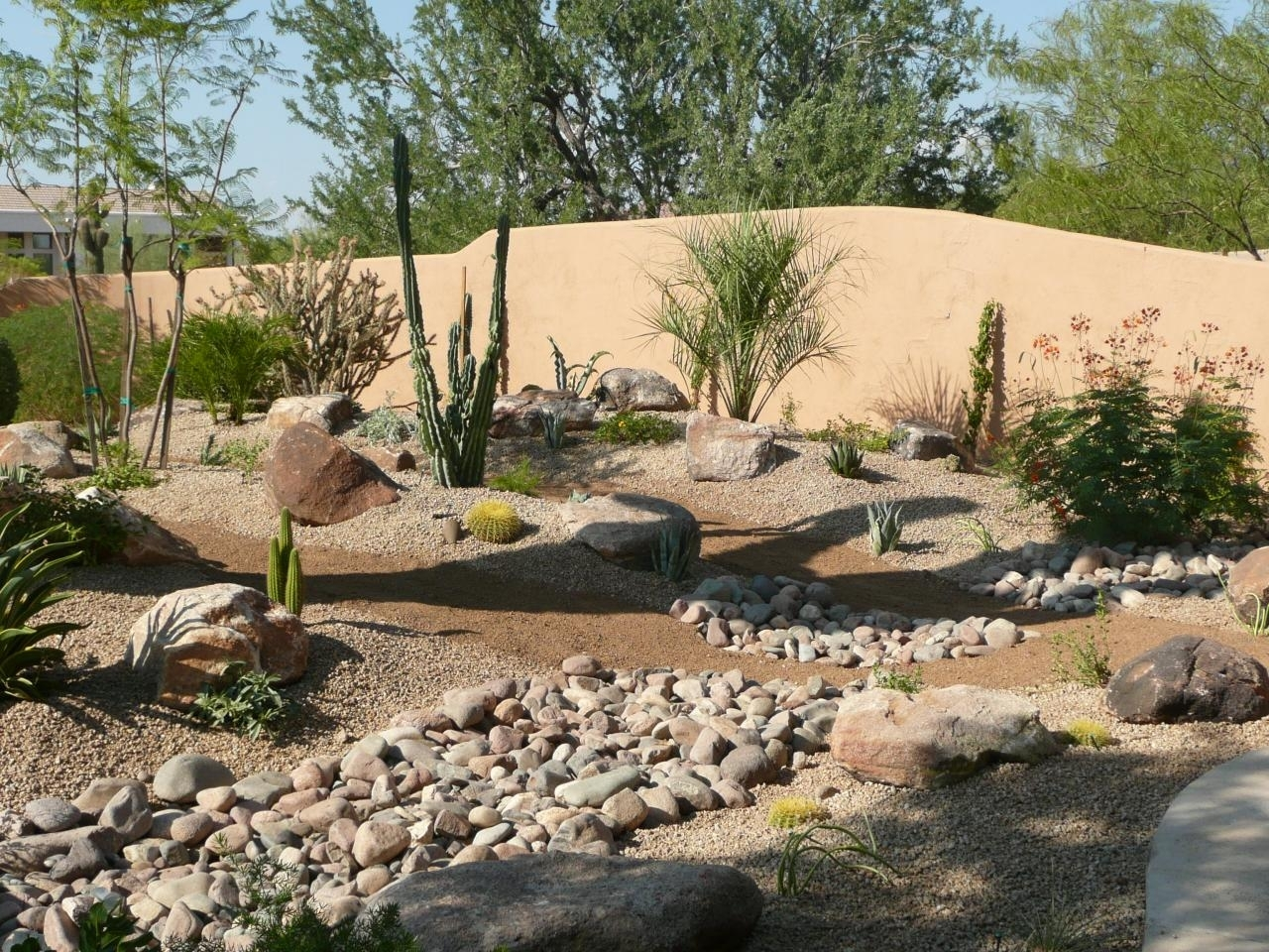 Image of: Desert Landscaping Here In Az Can Be So Stunning Backyard Throughout Drainage Ditch Landscaping Ideas Natural Drainage Ditch Landscaping Ideas