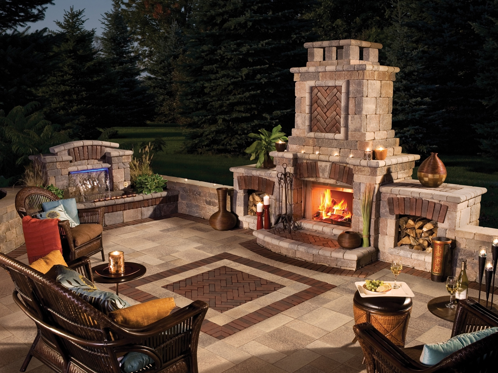 Image of: Exteriors Eyecatching Modern Outdoor Fireplaces Turn The Patio With Regard To Fake Outdoor Fireplace Build Fake Outdoor Fireplace
