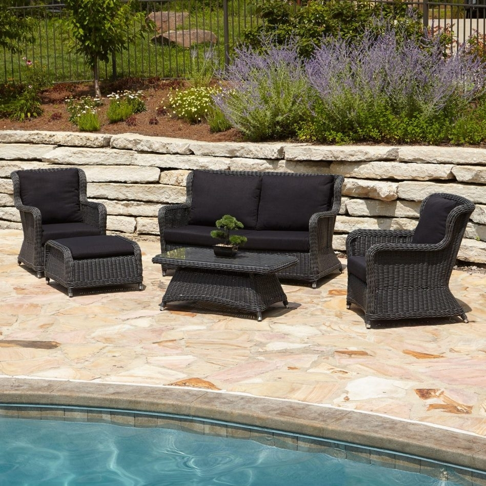 Image of: Furniture Alcee Resin Wicker Outdoor Piece Patio Lounge Set Regarding Outdoor Wicker Seat Cushions Very Elegant Outdoor Wicker Seat Cushions