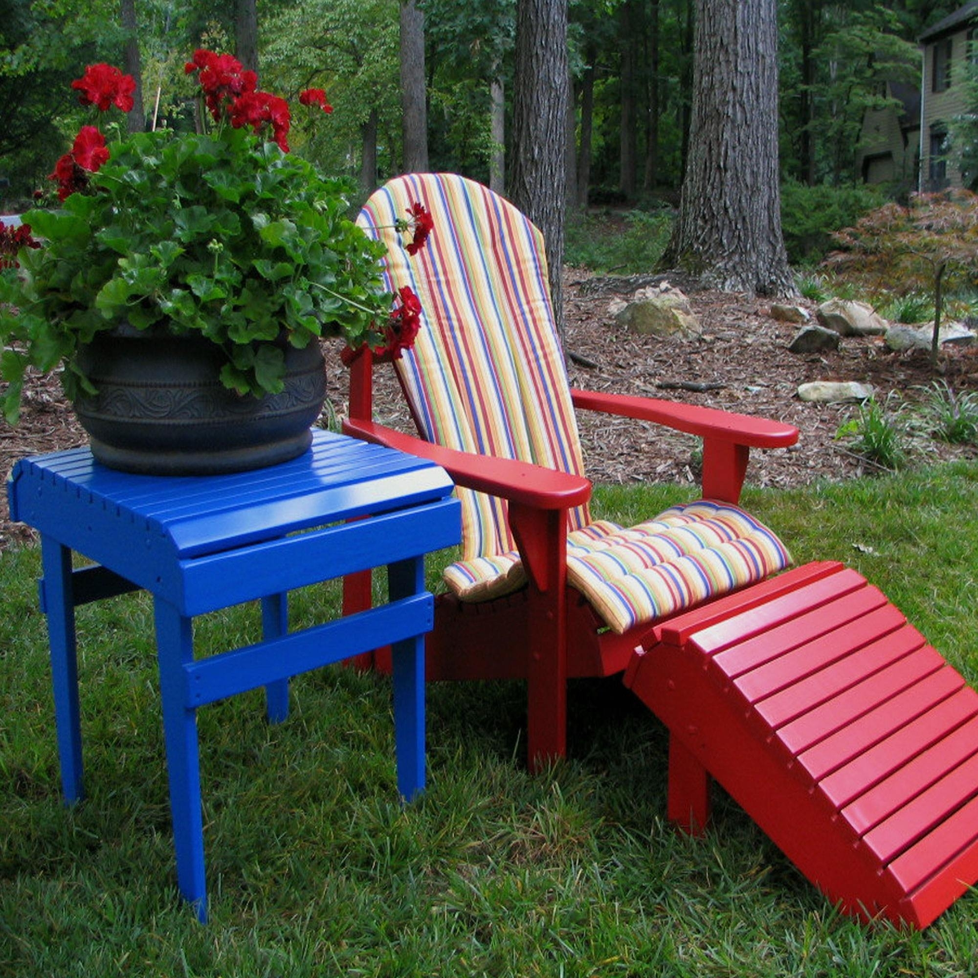 Image of: Furniture Enchanting Adirondack Chair Cushions For Cozy Outdoor In Red Outdoor Seat Cushions Red Outdoor Seat Cushions Set For Patio