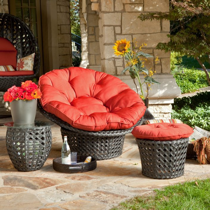 Furniture Exciting Outdoor Papasan Chair For Home Furniture Ideas With Red Outdoor Seat Cushions Red Outdoor Seat Cushions Set For Patio