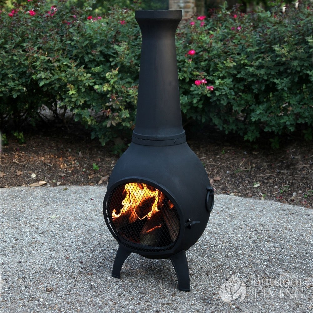 Image of: Furnitures Comfy With Large Clay Chiminea Outdoor Fireplace