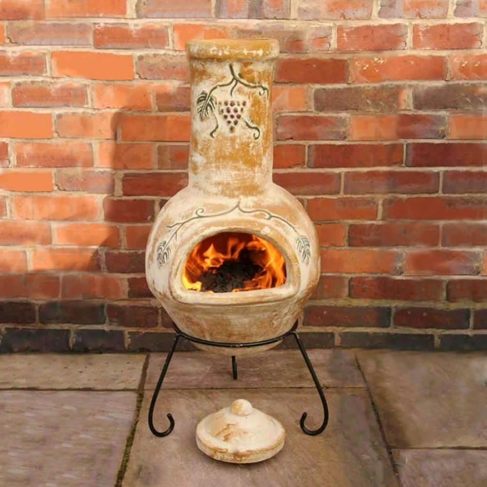 Image of: Gardeco Grapes Rustic Special Large Clay Chiminea Outdoor Fireplace