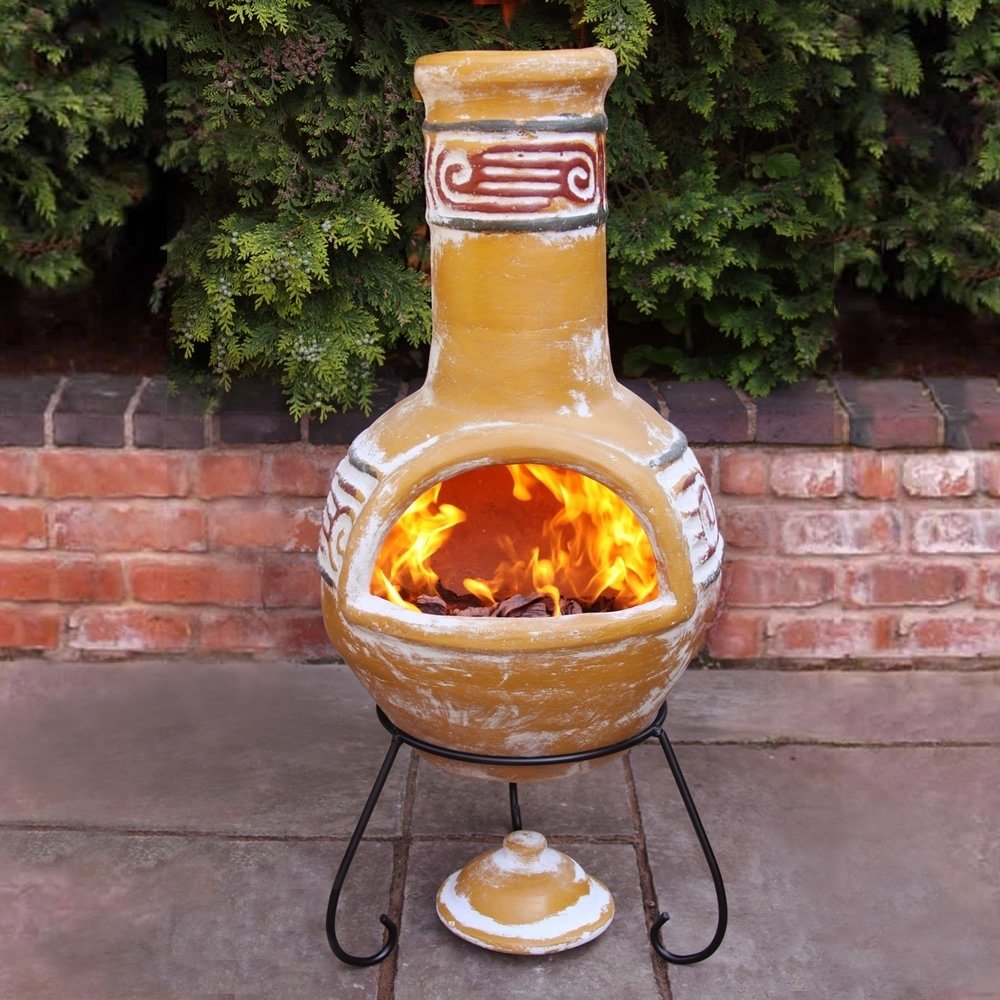 Image of: Gardeco Viento Mexican Large Clay Chiminea Outdoor Fireplace