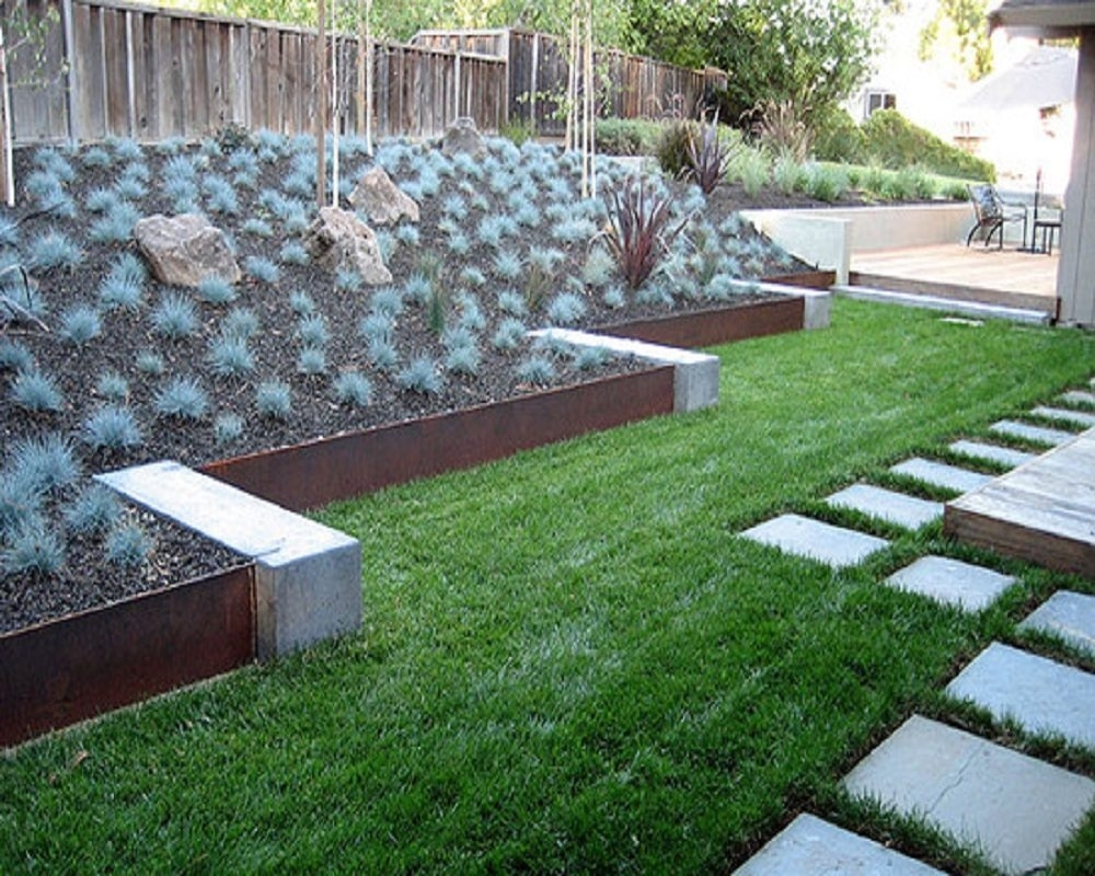 Image of: Concrete Materials For Landscape Metal Edging Garden