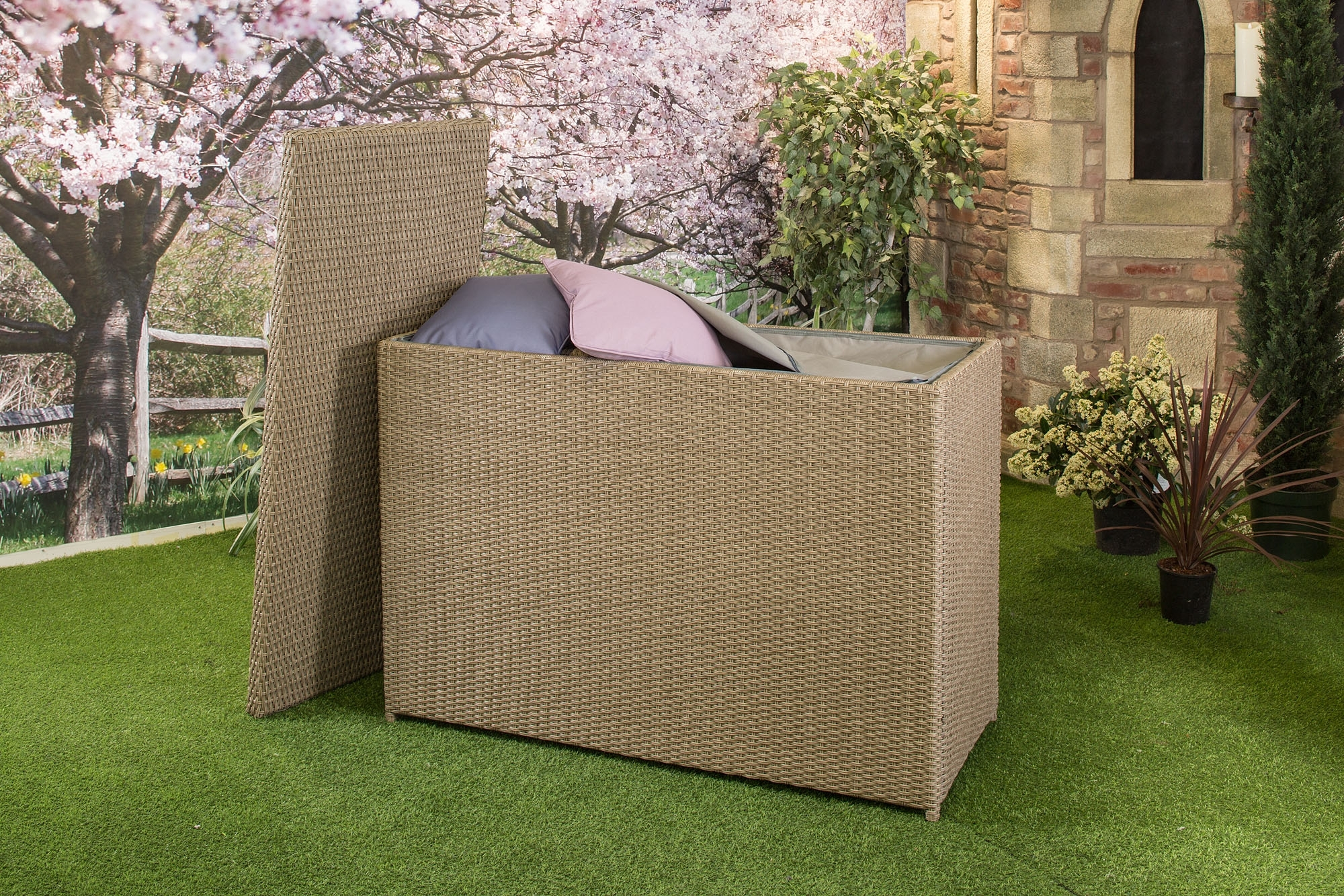 Image of: Garden Storage Boxes And Benches Hayes Garden World In Waterproof Outdoor Cushion Storage Bo Waterproof Outdoor Cushion Storage Box Idea
