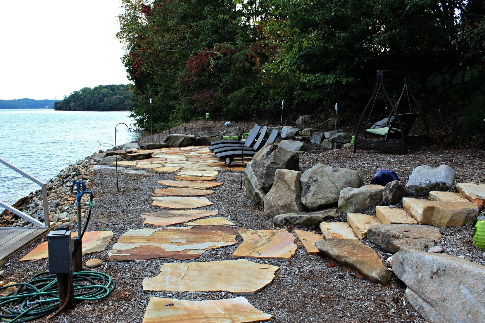 Image of: Gorgeous Lakeside Patio On Lake Keowee Rainmaker Landscapes Pertaining To Lakeside Landscaping Latest Trends In Lakeside Landscaping
