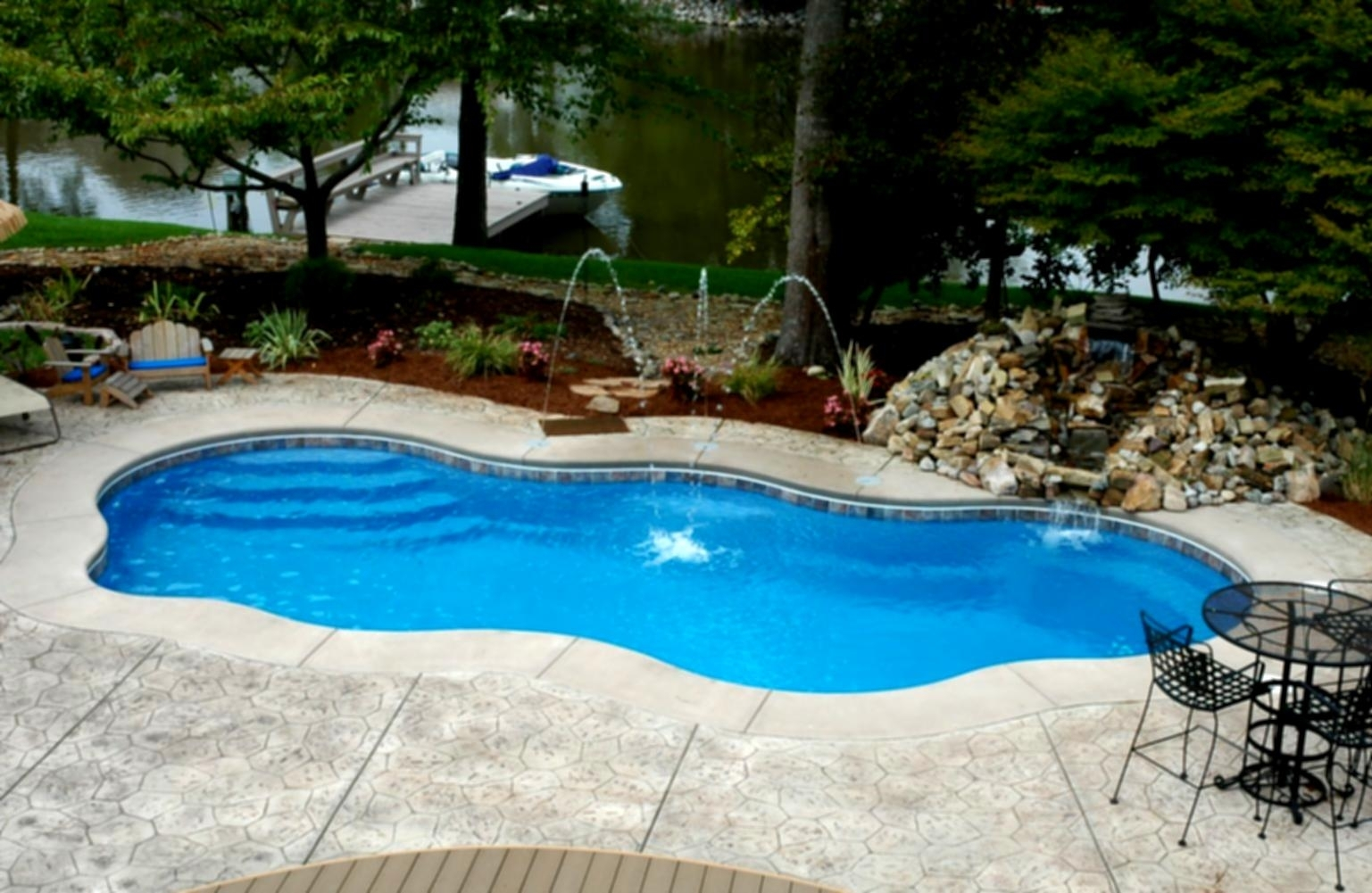 Image of: Green Backyard Landscaping Design Ideas With Rectangular Pool Regarding Inground Pool Landscaping Inground Pool Landscaping Ideas
