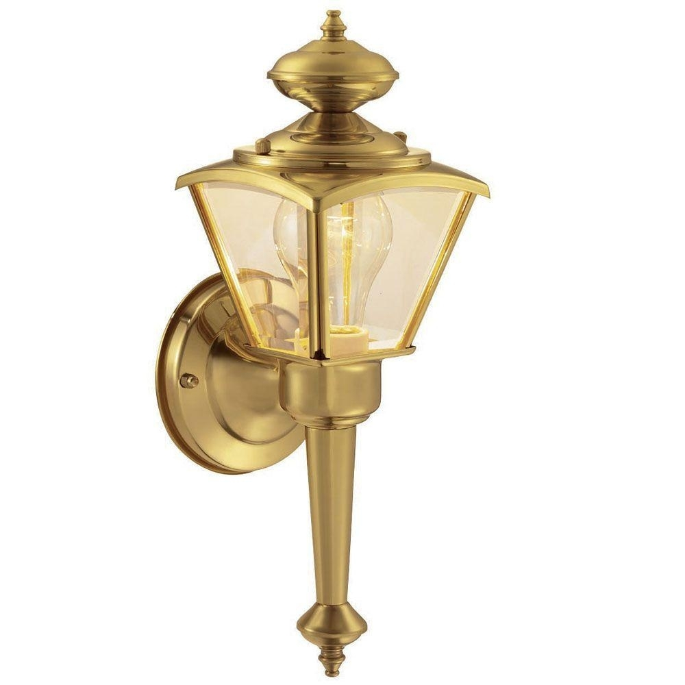 Image of: Hampton Bay 1 Light Polished Brass Outdoor Wall Lantern Wb0322 For Brass Outdoor Lights Brass Outdoor Lights Beautify Exterior