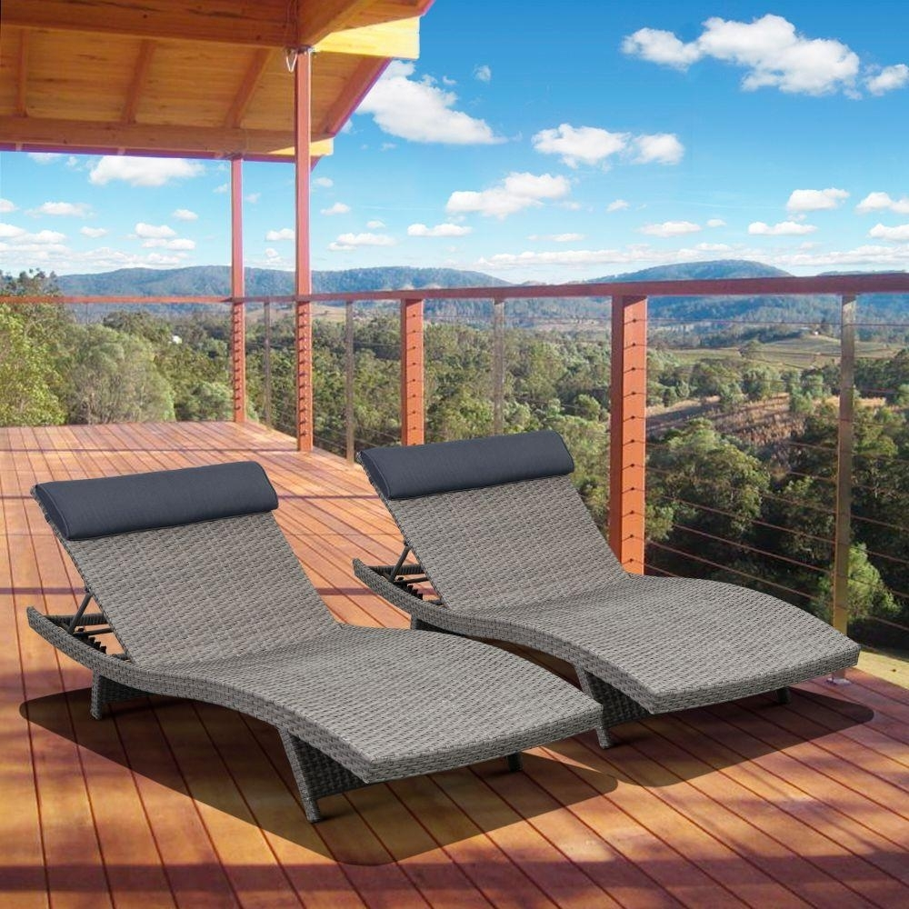Image of: Hampton Bay Outdoor Chaise Lounges Patio Chairs The Home Depot Pertaining To Outdoor Lounge Chairs With Cushions Outdoor Lounge Chairs With Cushions