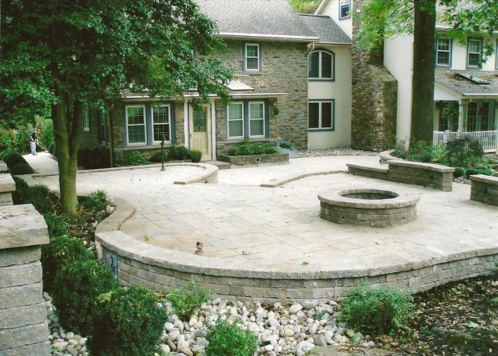 Hardscape Outdoor Living Area With Fire Pit And Retaining Walls With Regard To Hardscape Landscaping Hardscape Landscaping A Hill