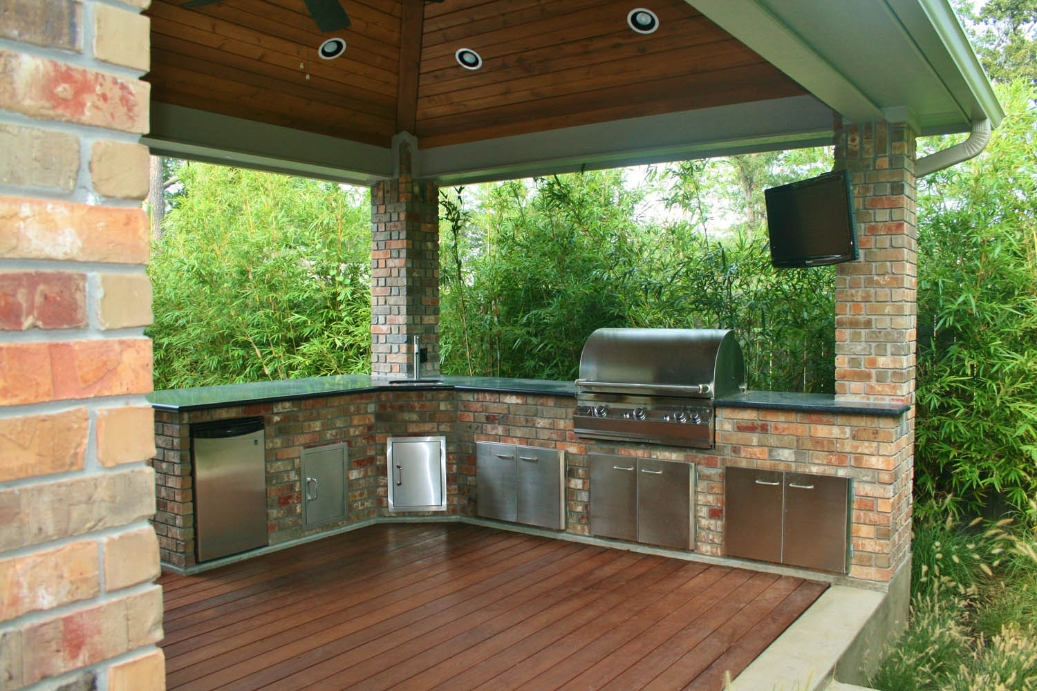 Image of: Houston Outdoor Kitchens Spring Photos The Woodlands Arbor Throughout Outdoor Kitchen Wood Countertops Nice Outdoor Kitchen Wood Countertops Inspiration