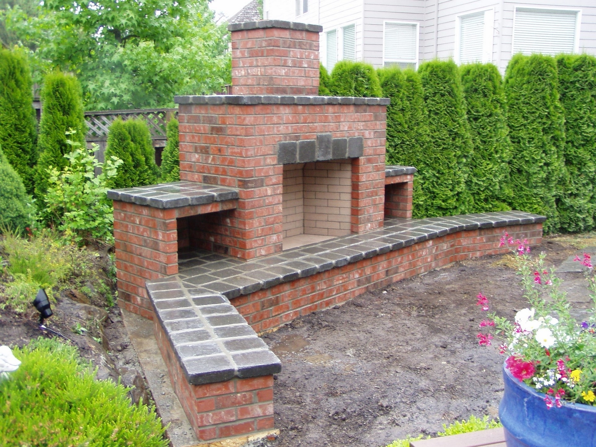 Image of: Build A Wood Burning Brick Outdoor Fireplace Flue Cleaning Guide
