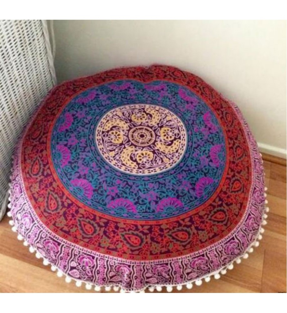 Image of: Jaipur Round Floor Cushion Mandala Throw Pillowcases 32 Throughout Round Outdoor Cushion Diy Simple Round Outdoor Cushion