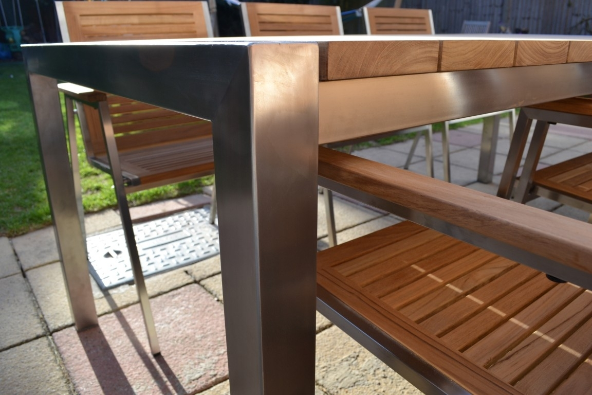 Image of: Jarrah Stainless Steel Outdoor Furniture Setting Ahs Garden Intended For Outdoor Stainless Steel Furniture Great Outdoor Stainless Steel Furniture