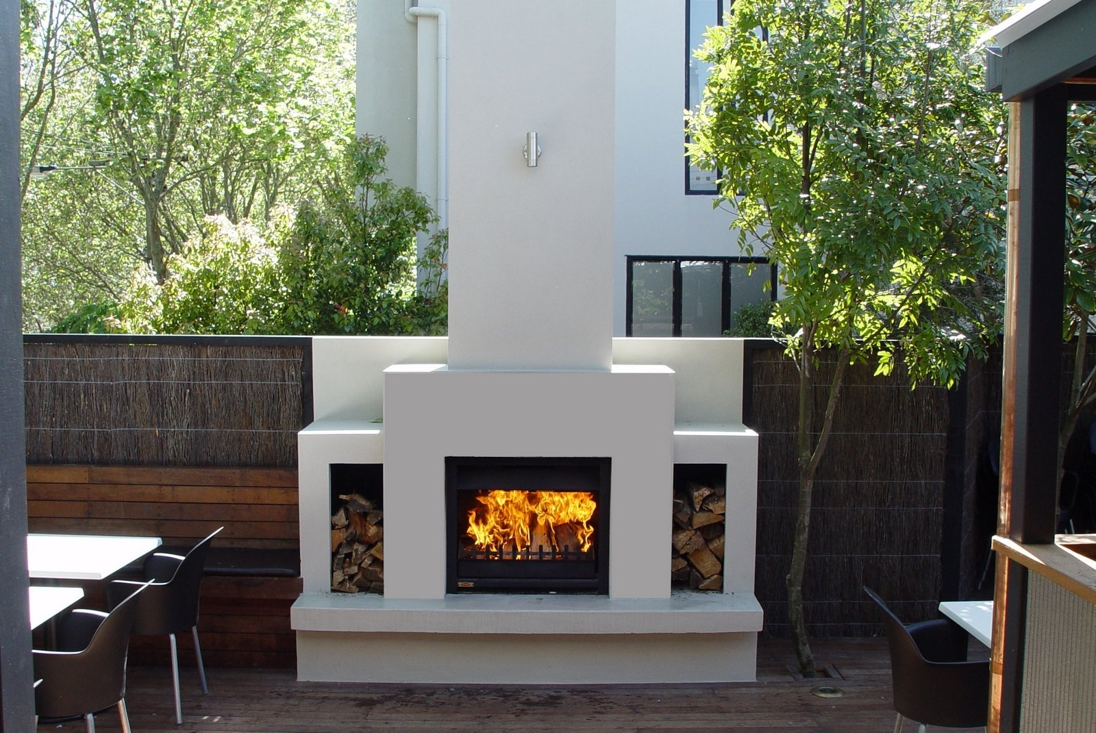 Image of: Jetmaster Universal Wood Fireplace Corner In Outdoor Wood Fireplace Design Outdoor Wood Fireplace Designs
