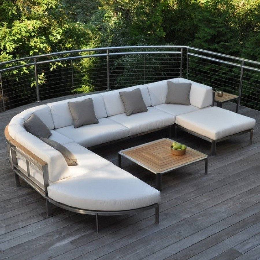 Image of: Kingsley Bate Tivoli Stainless Steel Sectional Curved Corner Chair With Outdoor Stainless Steel Furniture Great Outdoor Stainless Steel Furniture