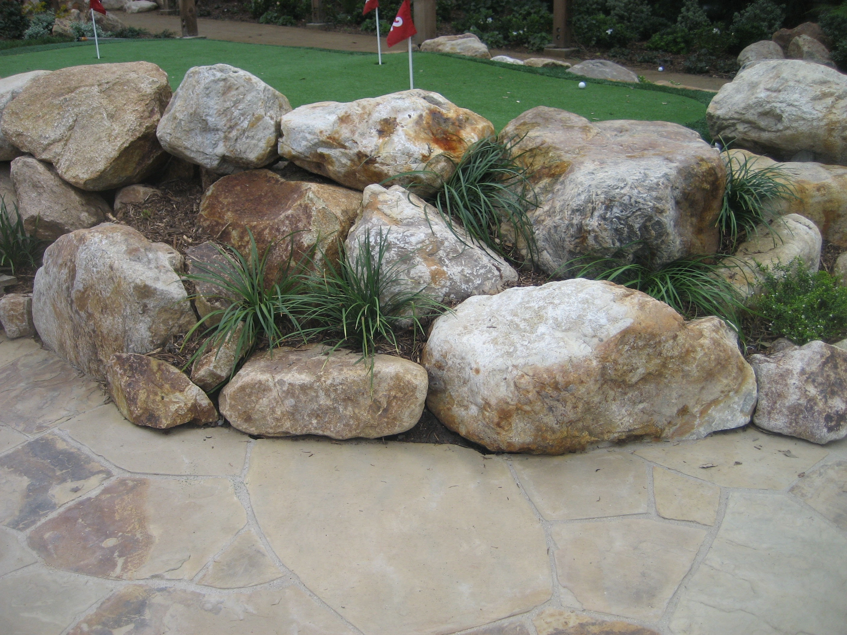 Image of: Landscape Cobbles Golden Granite Bourget Bros With Boulders For Landscaping