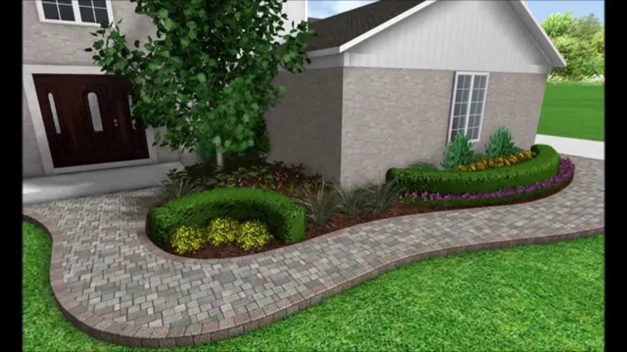 Image of: Landscape Design 3d Image Slideshow Front Walkway Transformation Pertaining To Front Sidewalk Landscaping Ideas How Lay Front Sidewalk Landscaping Ideas