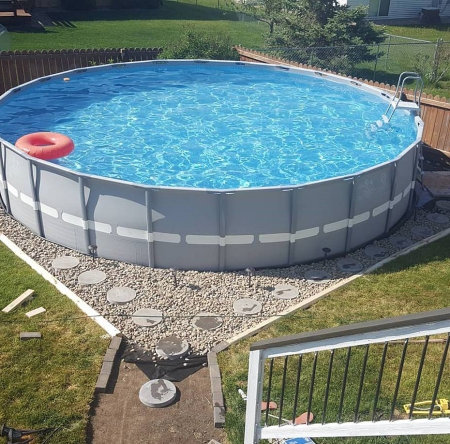 Image of: Landscaping Around Above Ground Pool With Stone Steps Dugas For Above Ground Pool Landscaping Ideas Above Ground Pool Landscaping
