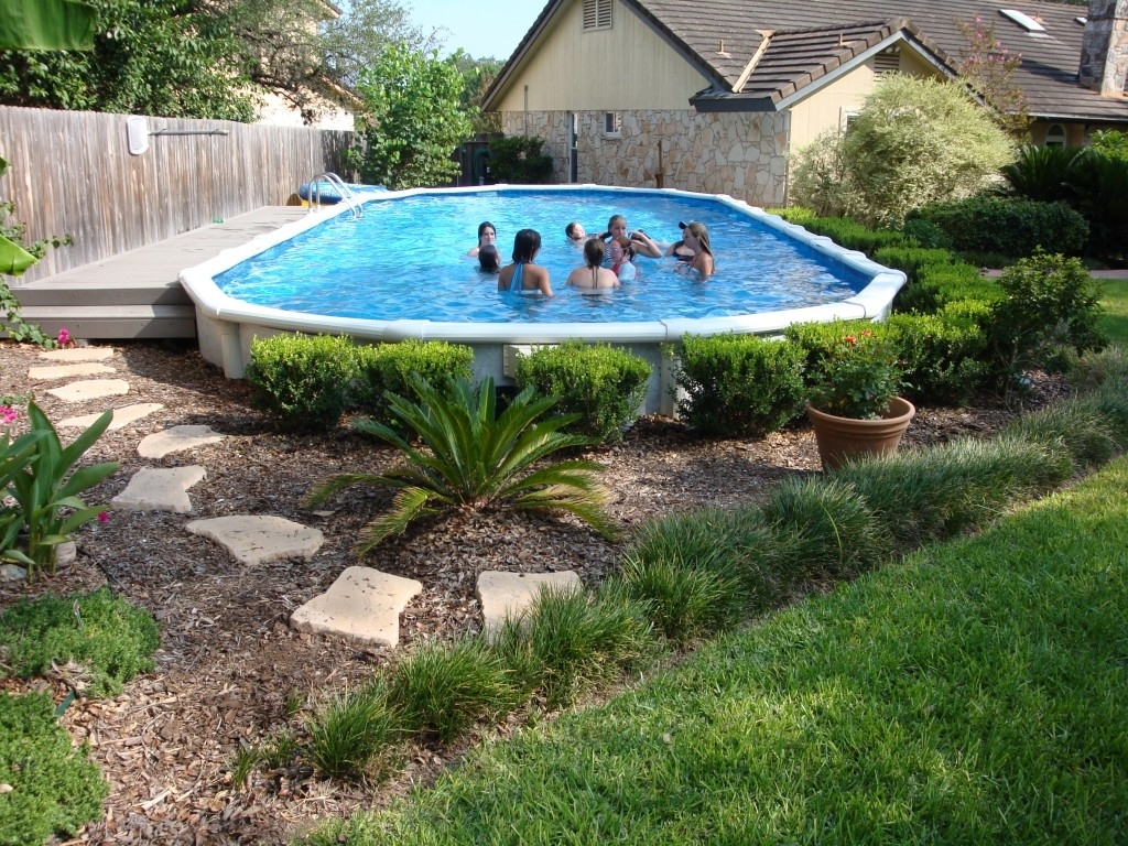 Image of: Landscaping Around Your Above Ground Pool With Regard To Above Ground Pool Landscaping Ideas Above Ground Pool Landscaping