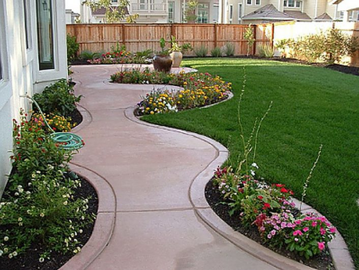 Landscaping Design Astounding Ideas With Concrete Sidewalk And Regarding Front Sidewalk Landscaping Ideas How Lay Front Sidewalk Landscaping Ideas