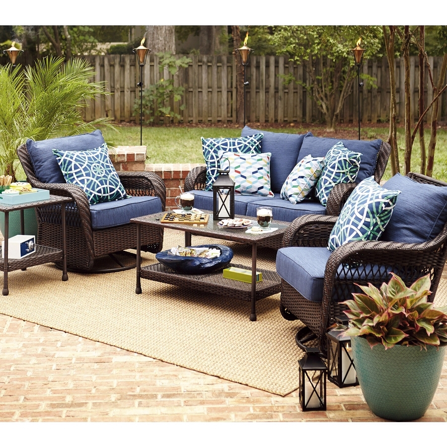 Image of: Lowes Glenlee Set Allen Roth Navy Cushions Screened Porch In Navy Outdoor Cushions Perfect Navy Outdoor Cushions
