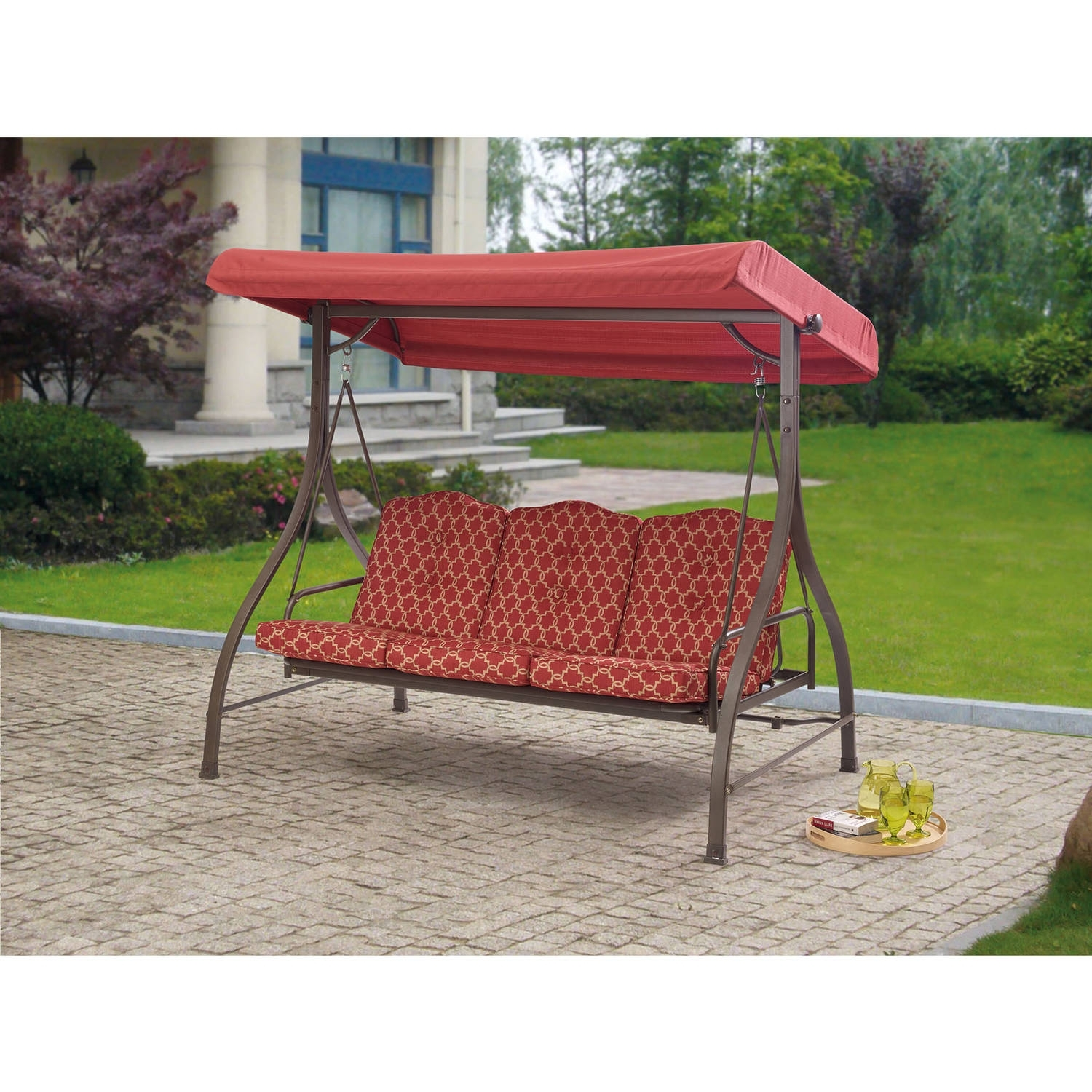 Mainstays Ashwood Heights 3 Seat Cushion Swing Walmart With Regard To Red Outdoor Seat Cushions Red Outdoor Seat Cushions Set For Patio