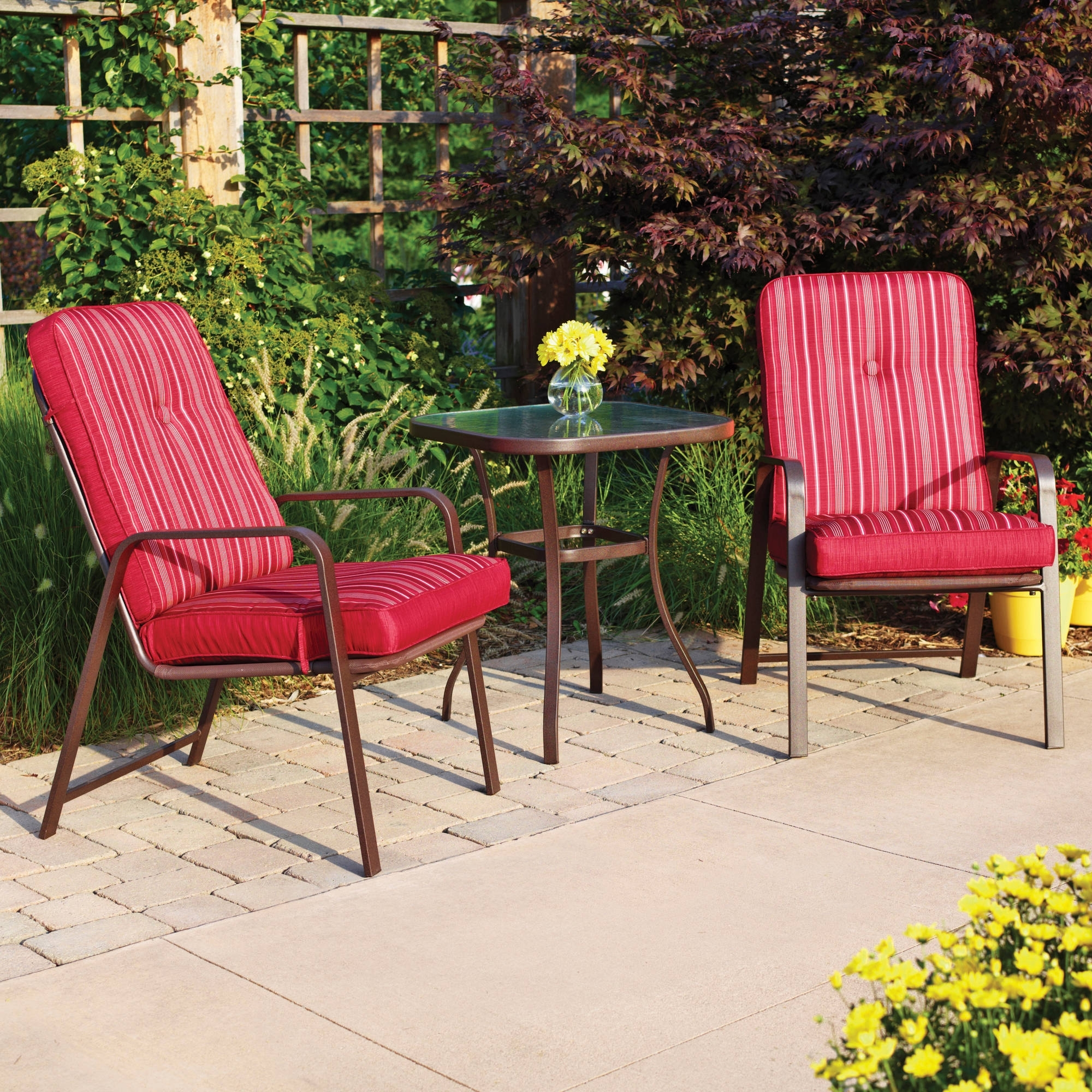 Image of: Mainstays Lawson Ridge 3 Piece Outdoor Bistro Set Seats 2 Throughout Red Outdoor Seat Cushions Red Outdoor Seat Cushions Set For Patio