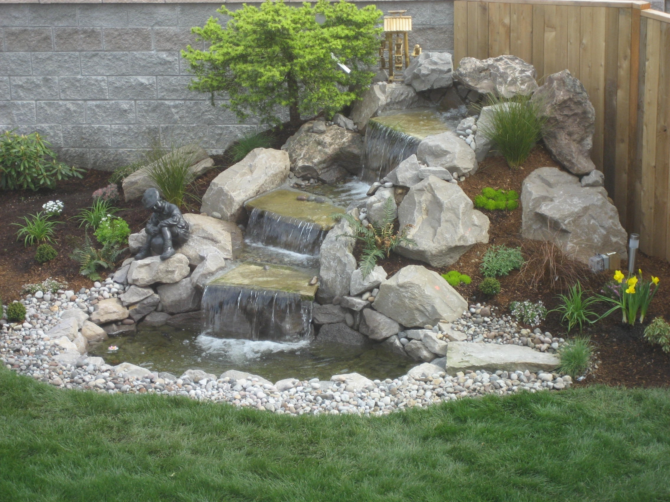 Image of: Modern Ideas Landscaping Waterfalls Sweet Landscape Waterfall Within Backyard Landscaping Plans Cheap Backyard Landscaping Plans