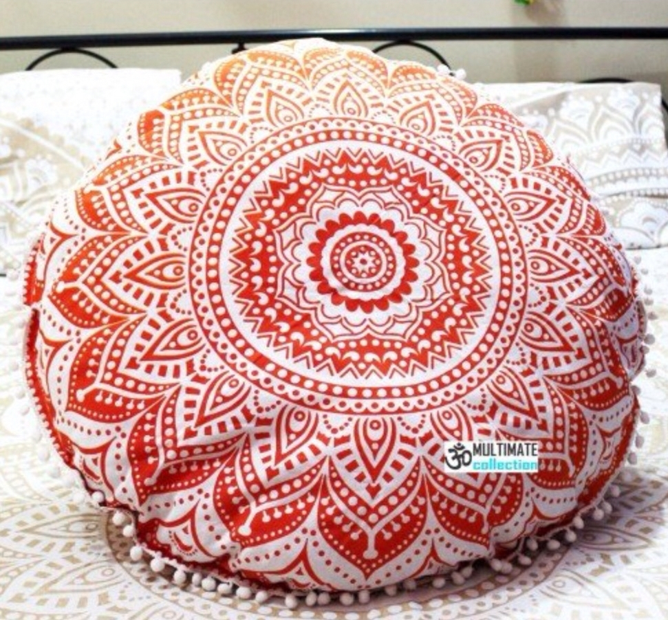 Image of: Orange Ombre Hippie Mandala Round Meditation Cushion Hippie Intended For Outdoor Meditation Cushion Ideas For Outdoor Meditation Cushion