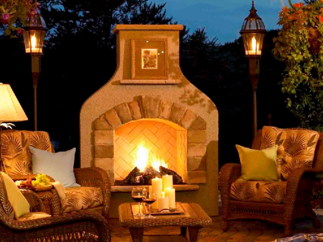 Image of: Outdoor Fireplace Design Large Clay Chiminea Outdoor Fireplace